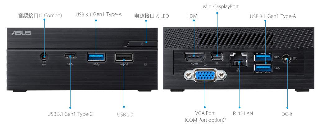 ASUSPRO PN40-Business mini PC- hdmi- USB 3.1- serial port and ASUSPRO PN40-Business mini PC-ODD-Wirelss Antenna