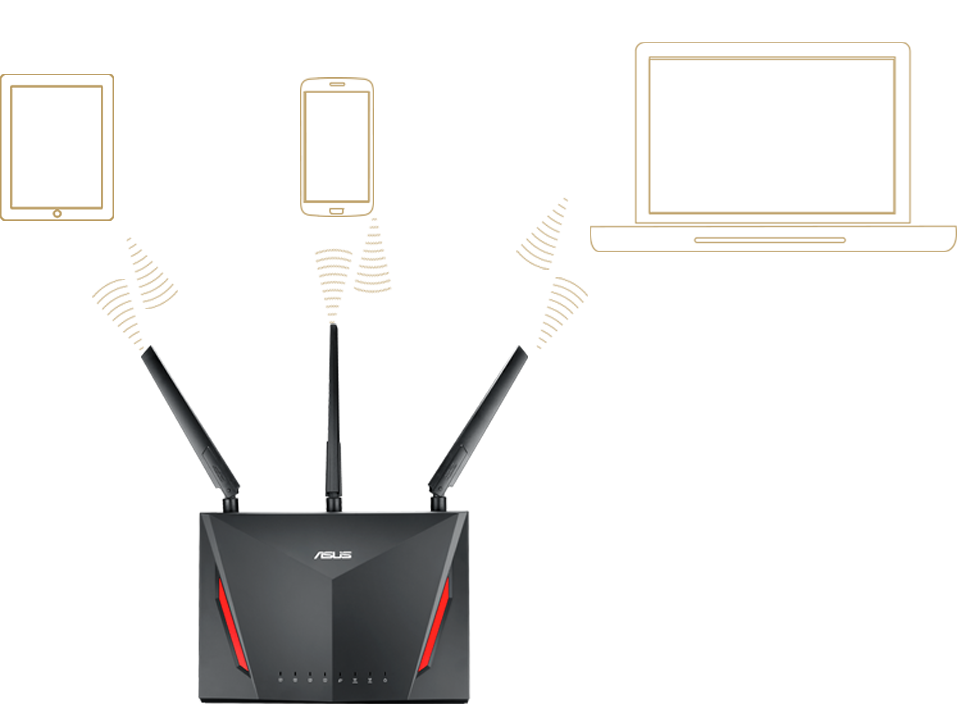 ASUS RT-AC2900 comes with Multi-user MIMO, allowing RT-AC2900 to serve multi-device at a time.