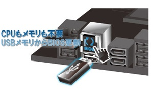 CPUやメモリがなくてもEFI BIOSの更新を行える「USB BIOS Flashback」