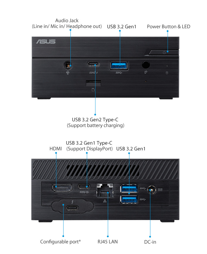 ASUSPRO PN60-Business mini PC- hdmi- USB 3.2- serial port and ASUSPRO PN60-Business mini PC-ODD-Wirelss Antenna
