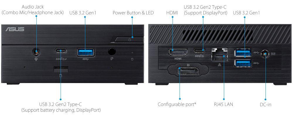 ASUSPRO PN50-Business mini PC- hdmi- USB 3.1- serial port and ASUSPRO PN50-Business mini PC-ODD-Wirelss Antenna