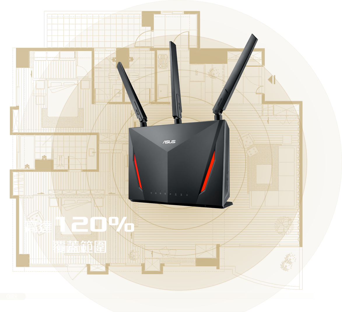 ASUS RT-AC86U router features RangeBoost increasing up to 120% Wi-Fi signal coverage.