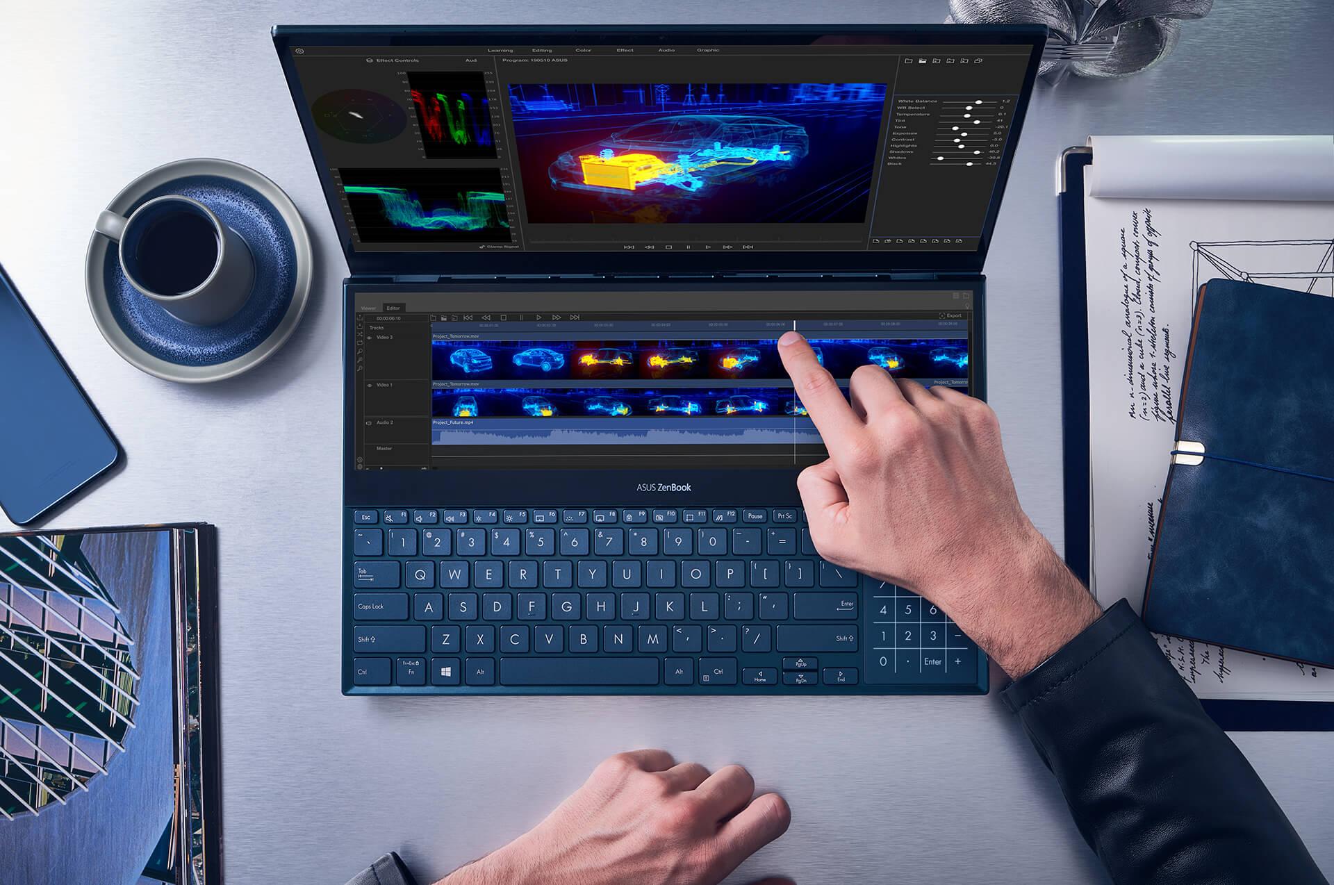 لابتوب أسوس زينبوك ديو - جي فورس MX250 بسعة 2 جيجابايت - كور i7 - رام 16 جيجابايت - سعة تخزين 1 تيرابايت إس إس دي - شاشة 14 بوصة