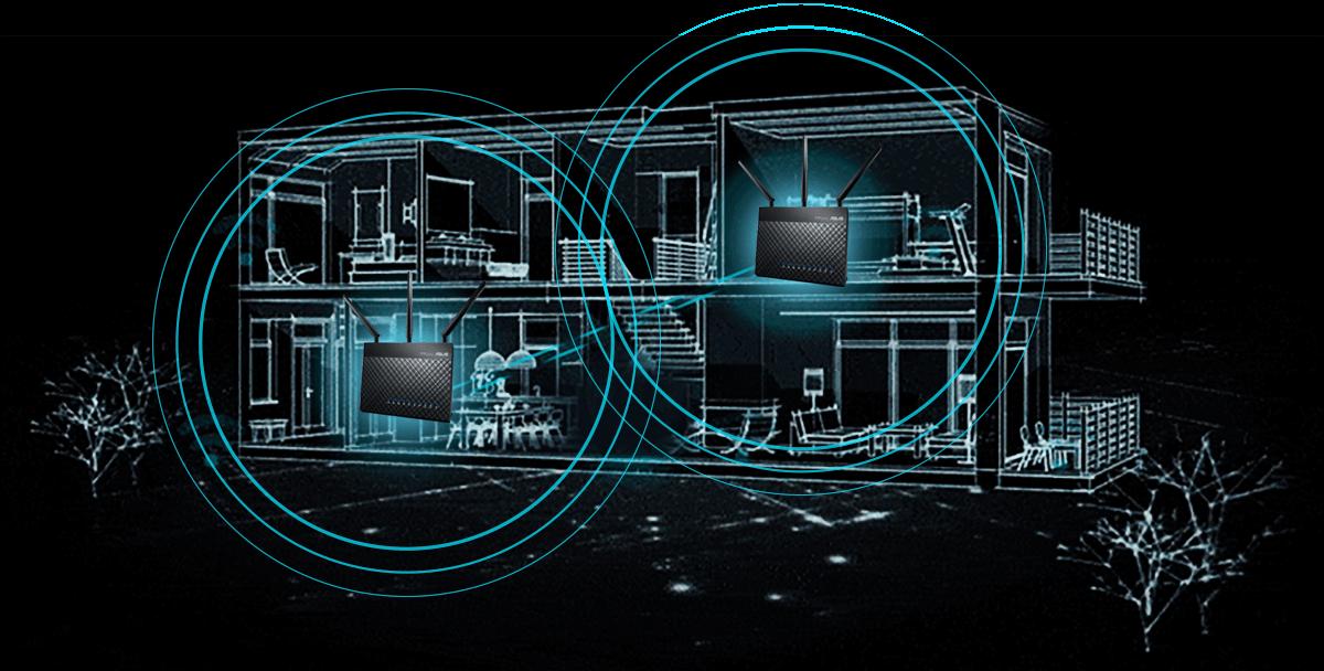 За допомогою AiMesh AC1900 WiFi System можна побудувати мережу, що охоплює всі куточки вашого будинку.