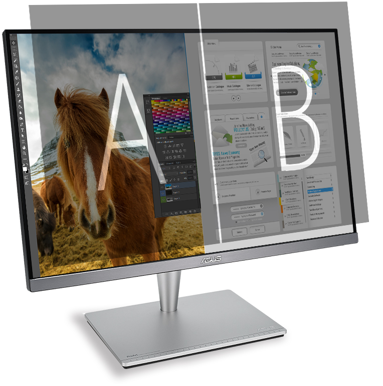 ProArt PA24AC can place multiple input sources side by side onscreen and configure each individual window's color settings.
