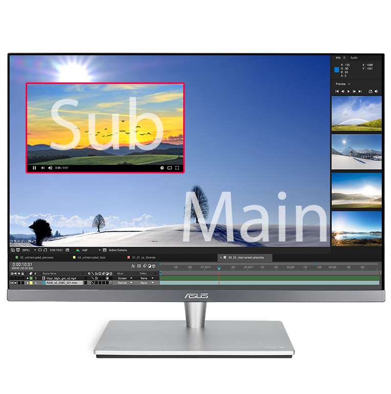 ProArt PA24AC can place your second input source in a window in one corner of the display.