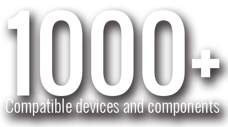 1000+ Compatible devices and components