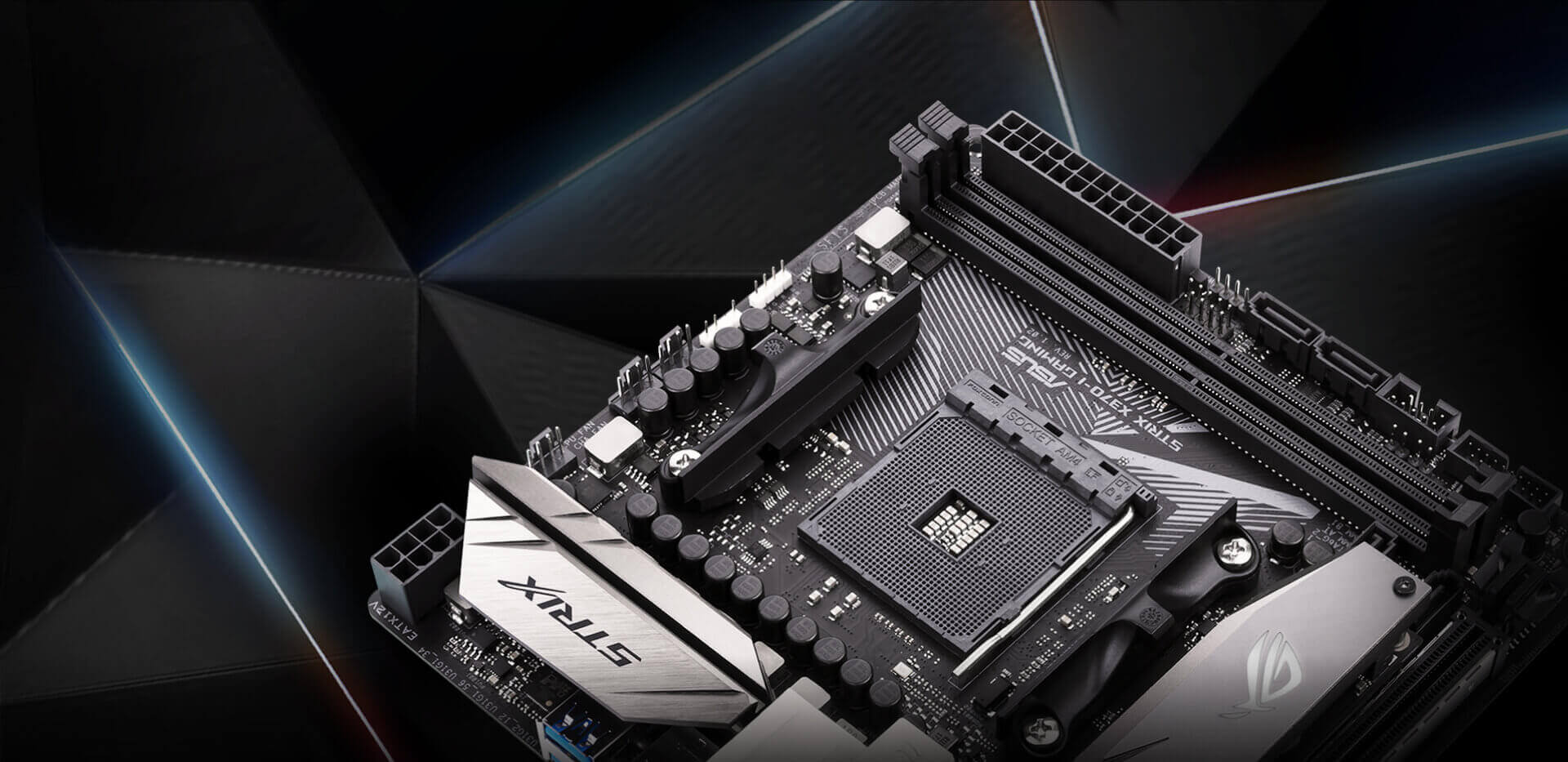 Rog Strix X370 I Gaming Motherboards Asus Usa Mouse Sensor Board Schematic Pcb Right Click Quotsave Asquot To Get Stylish Angular Metal Heatsinks With Patterned Matte Black