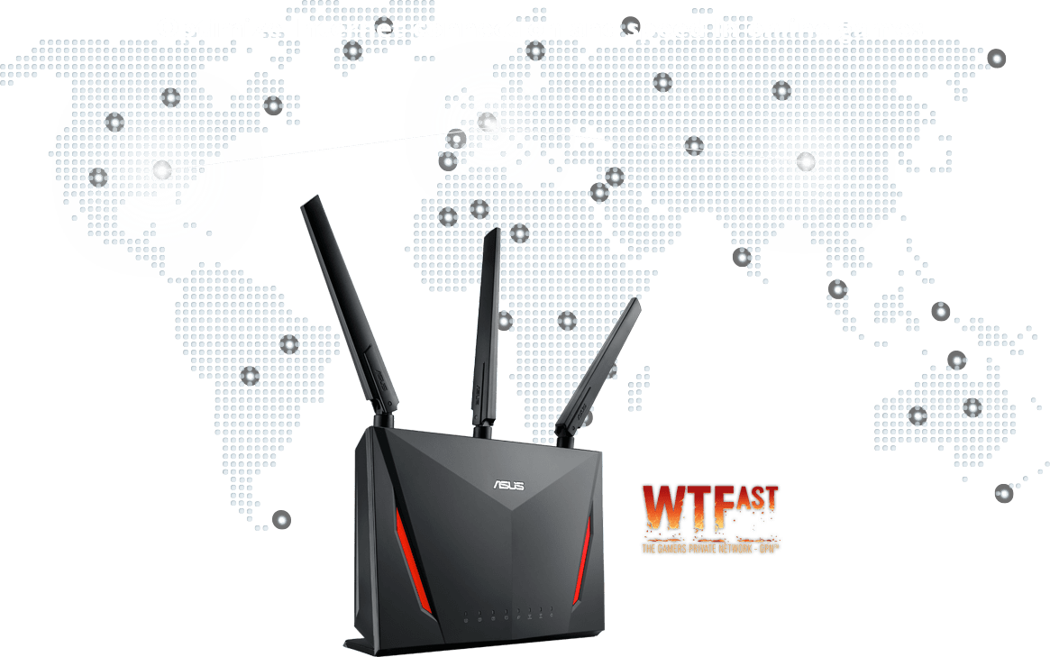 """ASUS RT-AC2900 router comes with build-in game acceleration called """"Gamers Private Network"""" powered by WTFast to which helps to optimize internet connection from your router to the game server."""