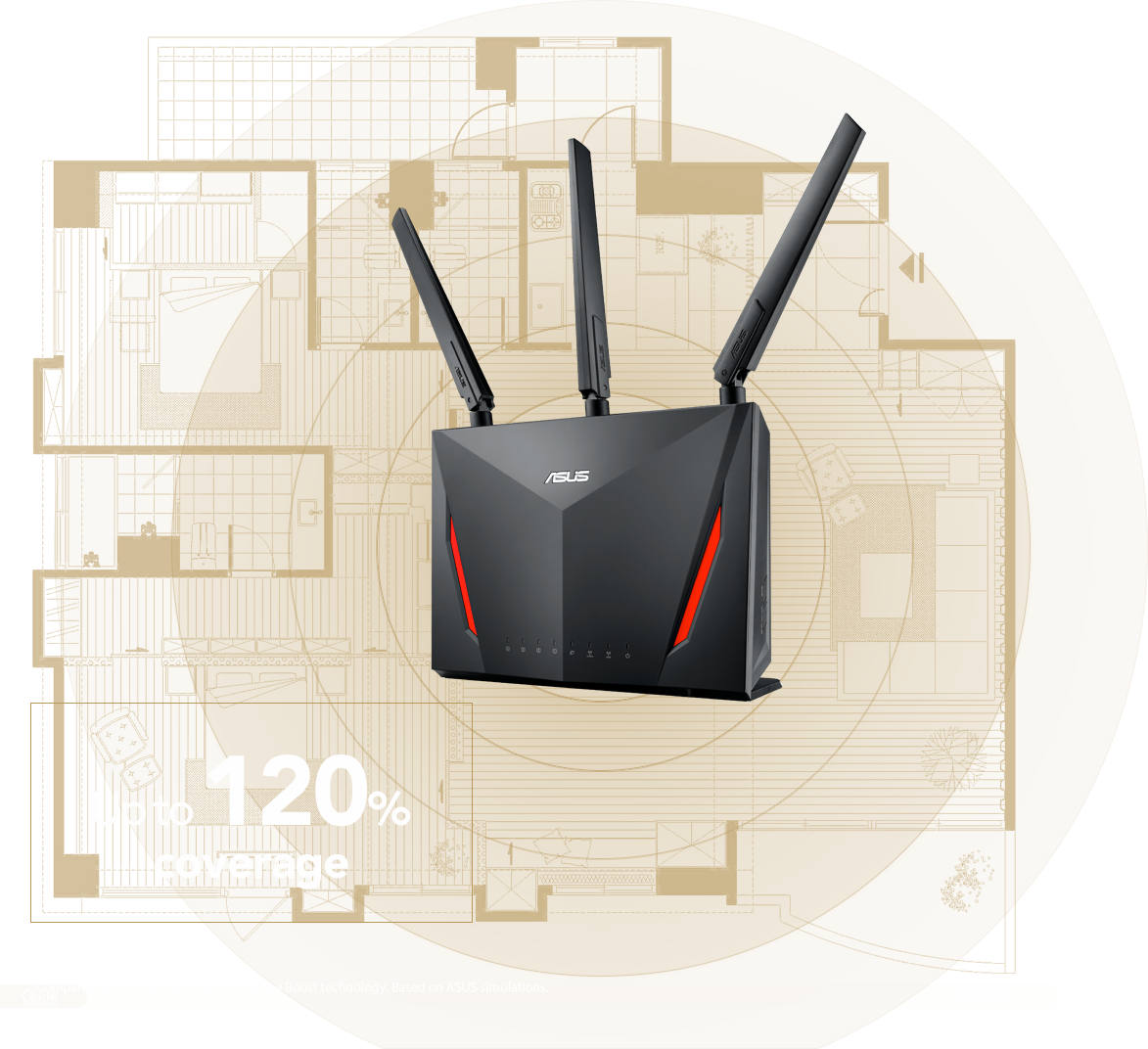 ASUS RT-AC2900 router features RangeBoost increasing up to 120% Wi-Fi signal coverage.