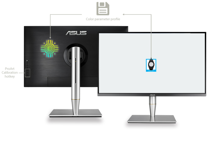 ASUS ProArt Calibration Technology can save all color parameter profiles on the monitor's internal scaler integrated circuit (IC) chip instead of the PC