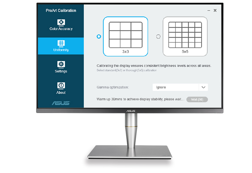 ASUS ProArt Calibration Technology offers 3x3 and 5x5 uniformity compensation matrices to ensure consistent brightness throughout the screen to reduce color shift.