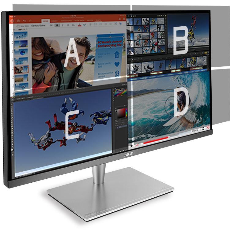 ProArt PA32UC-K, birden fazla giriş kaynağını ekran üzerinde yan yana koyabilir, her bir pencerenin renk ayaralarını düzenleyebilir.