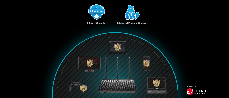 AiProtection Pro schützt alle verbundenen Geräte in Ihrem Netzwerk. Die fortschrittliche Kindersicherung hilft Ihnen dabei, Ihre Familie noch besser zu schützen.