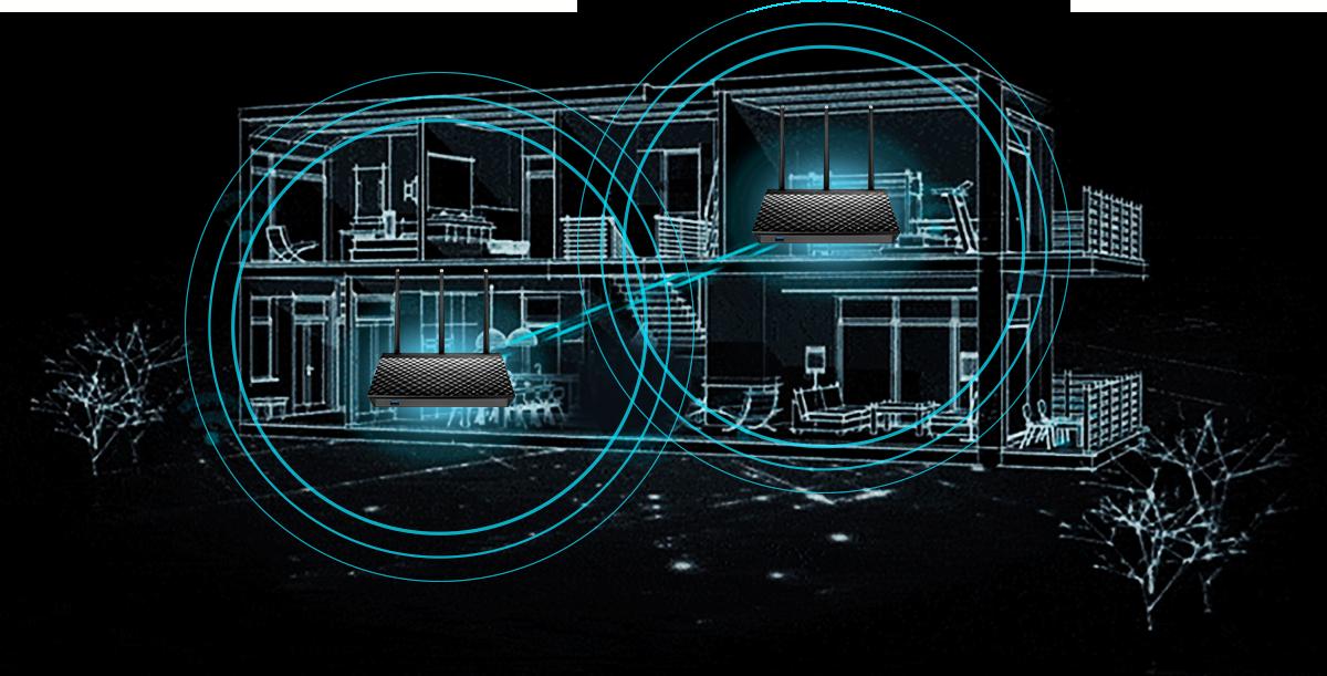 يوفر نظام AiMesh AC1900 WiFi تغطية في جميع أرجاء المنزل من خلال توصيل جهازي راوتر معًا لتكوين نظام WiFi شبكي.