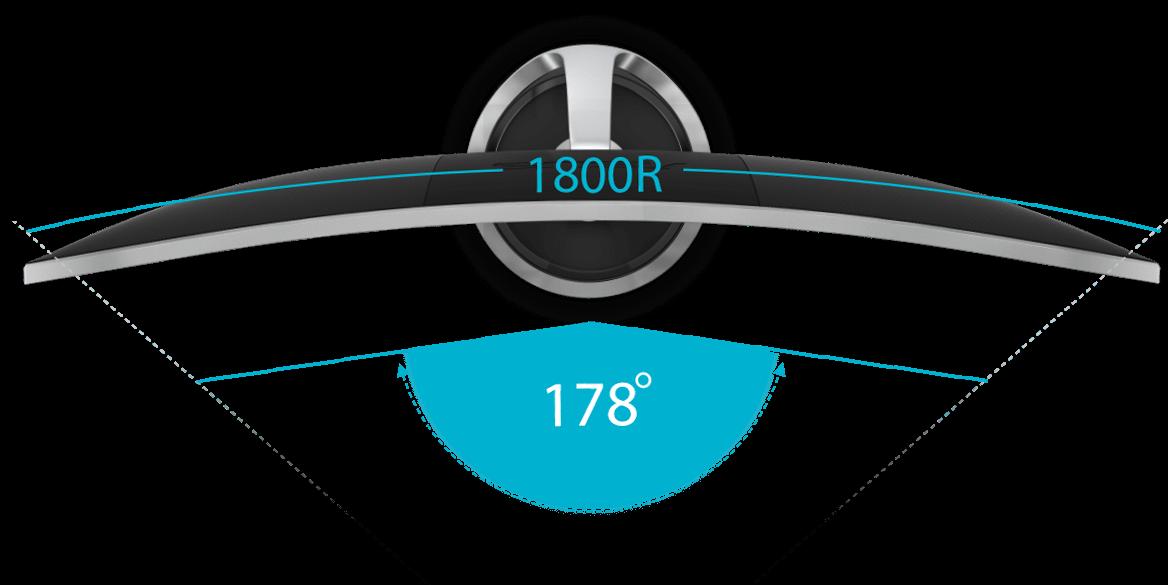Der ASUS Designo Curve Monitor MX34VQ bietet ein Seitenverhältnis von 21:9 und eine Krümmung von 1.800R für ein deutlich erweitertes Sichtfeld. Zusätzlich sorgt der Betrachtungswinkel von 178° für eine besonders große Blickwinkelstabilität mit minimalen Farbabweichungen, selbst aus extremen Blickwinkeln.