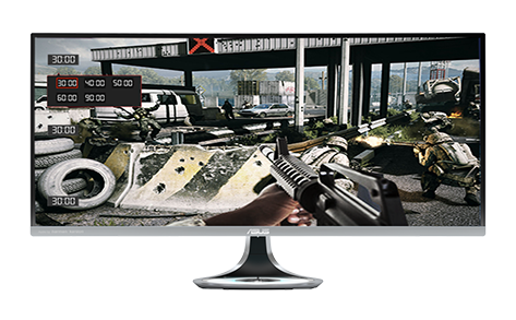 ASUS-exclusive GamePlus hotkey provides in-game enhancements such as a crosshair overlay, an onscreen timer, and a frames per second counter.
