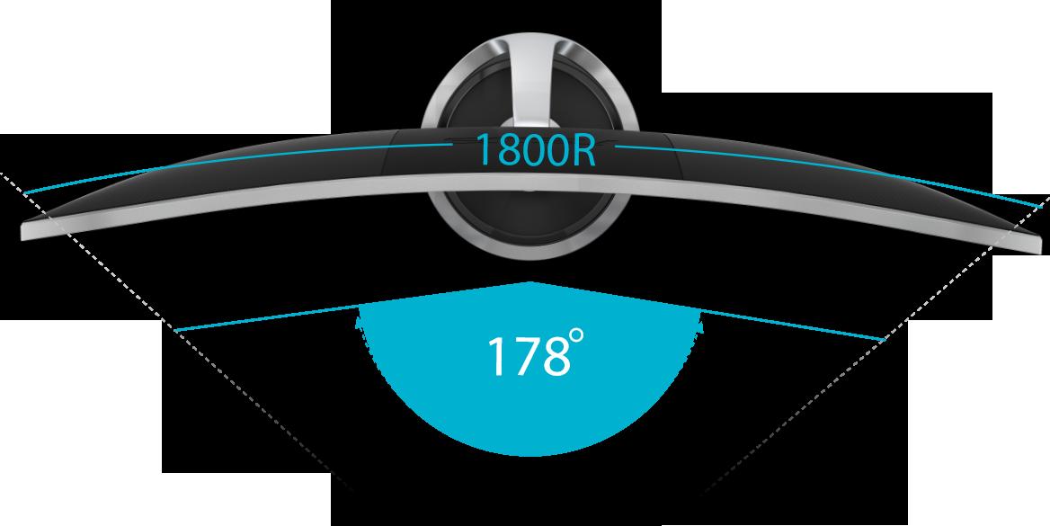 Le ASUS Designo Curve MX34VQ présente un rapport d'aspect 21:9 et une incurvation 1800R pour vous offrir un plus grand champ, exacerbé par un angle de vision large à 178°, pour voir des graphismes parfaits même en étant excentré.