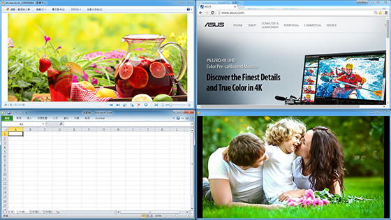 ASUS MultiFrame שומרת על הסדר בשולחן העבודה שלכם, ומסייעת לכם לנהל במקביל מספר חלונות.