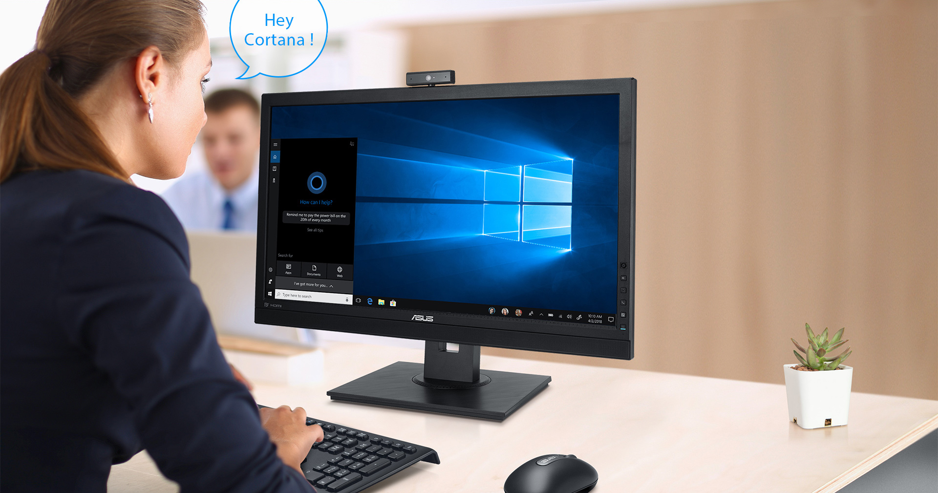 BE24DQLB's beam-forming microphone array separates speech from background noise, so it's perfect for use with Cortana, the Windows 10 smart assistant.