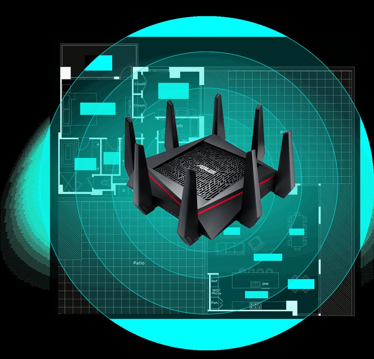Le RT-AC5300 intègre le beamforming AiRadar pour pour augmenter la rapidité et la force de votre signal Wi-Fi