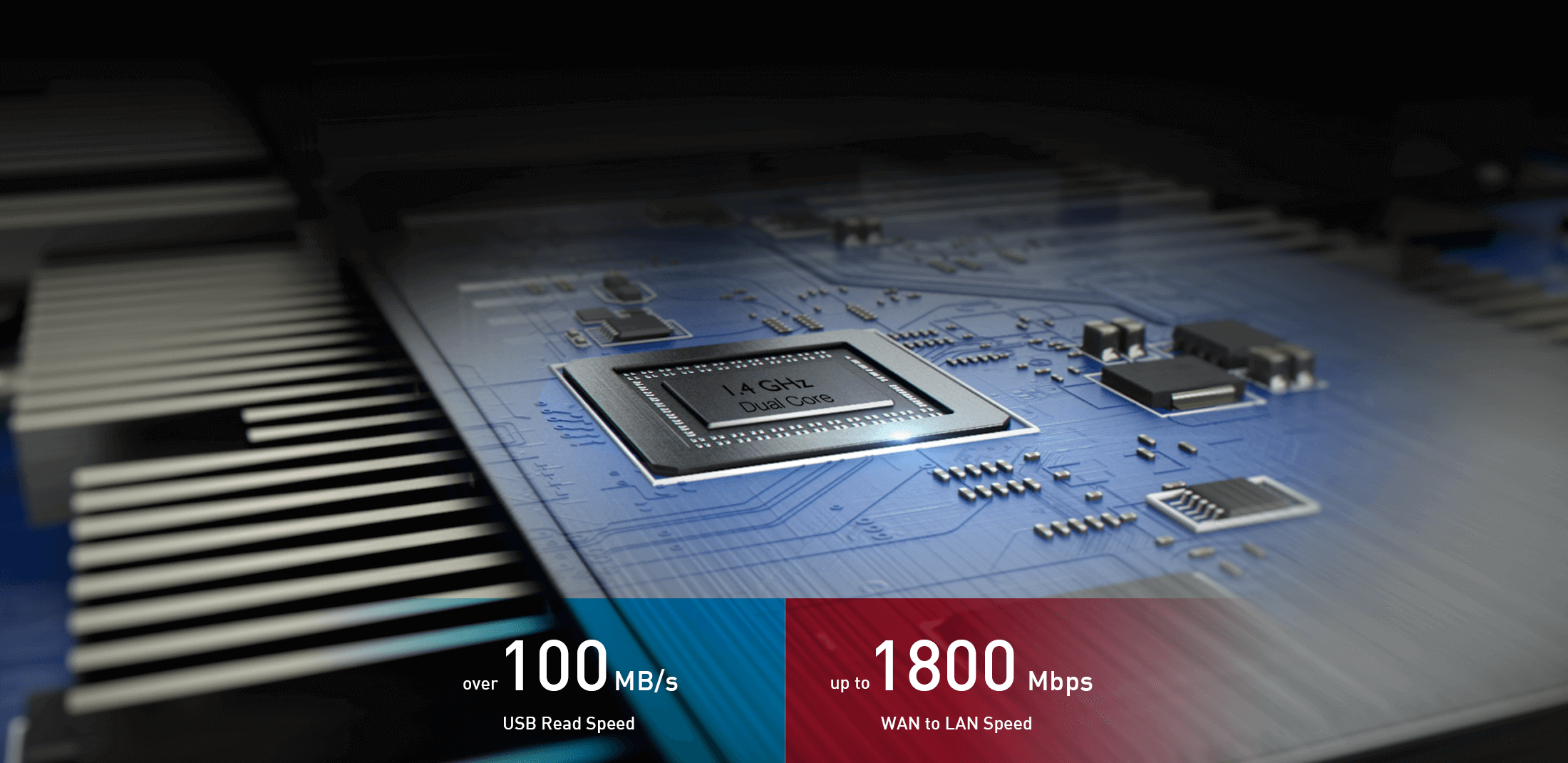 RT-AC5300 features a 1.4 GHz dual-core processor provides ultra-fast transfer speed