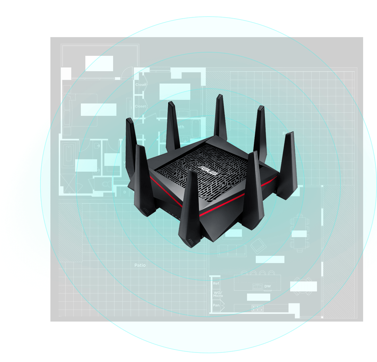 RT-AC5300 features AiRadar with universal beamforming to make your Wi-Fi faster, clearer and stronger