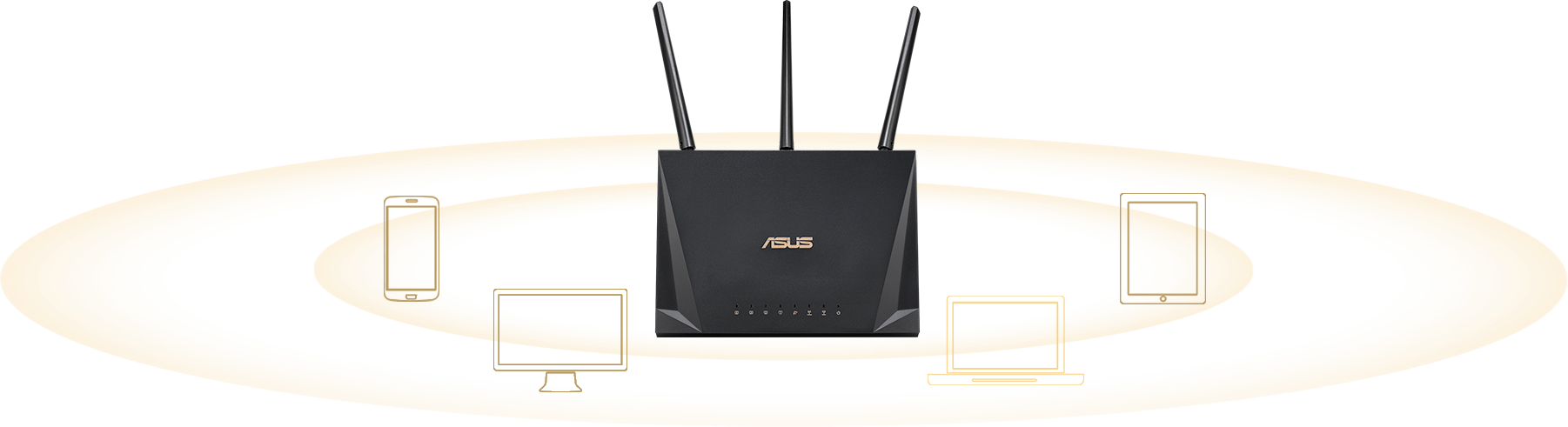 ASUS RT-AC2400 comes with Multi-user MIMO, allowing RT-AC2400 to serve multi-device at a time