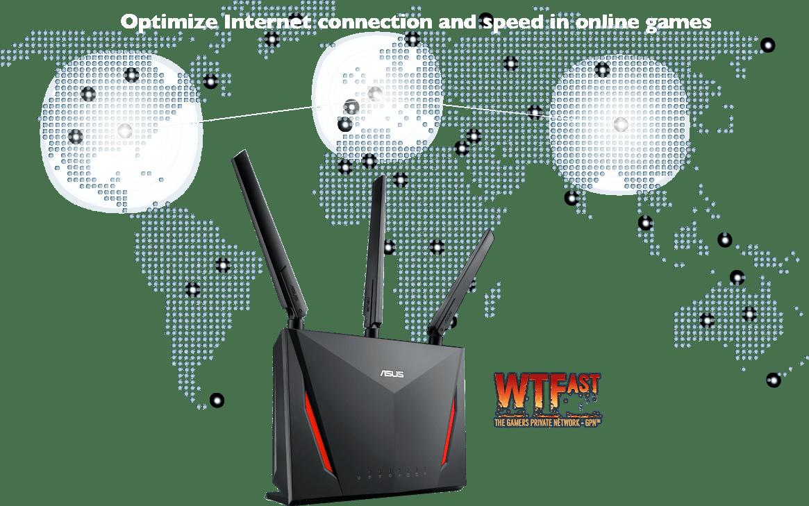 Der ASUS-RT-AC86U-Router ist mit einer integrierten Gaming-Beschleunigung namens
