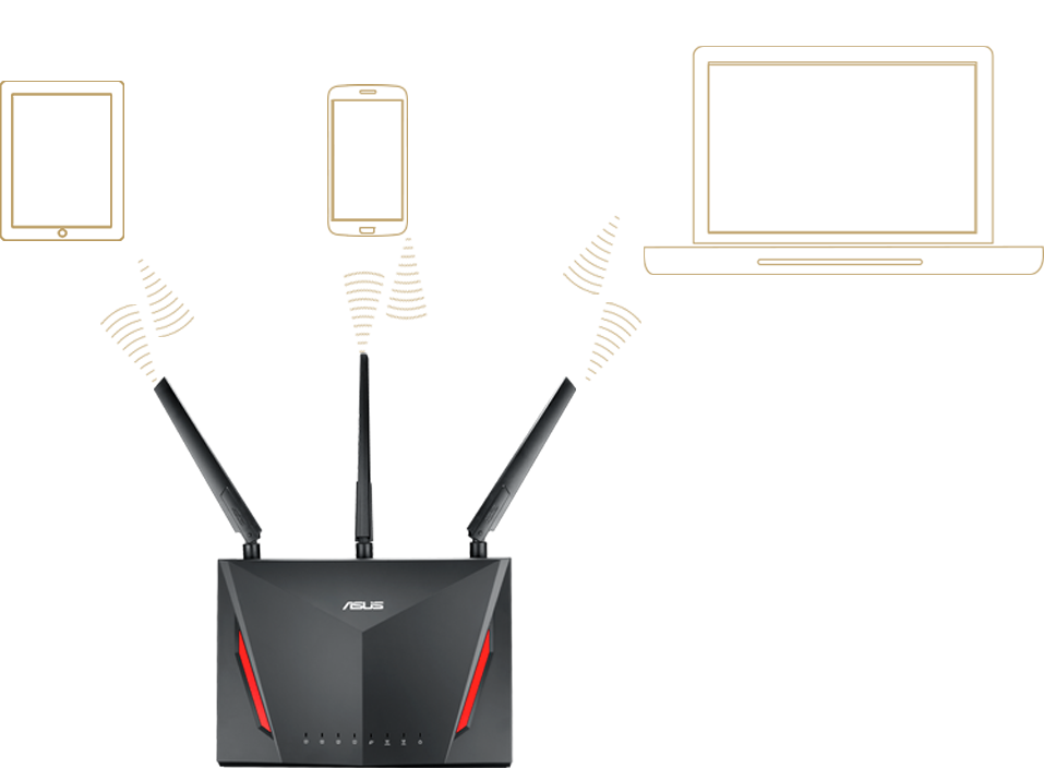 ASUS RT-AC86U comes with Multi-user MIMO, allowing RT-AC86U to serve multi-device at a time.