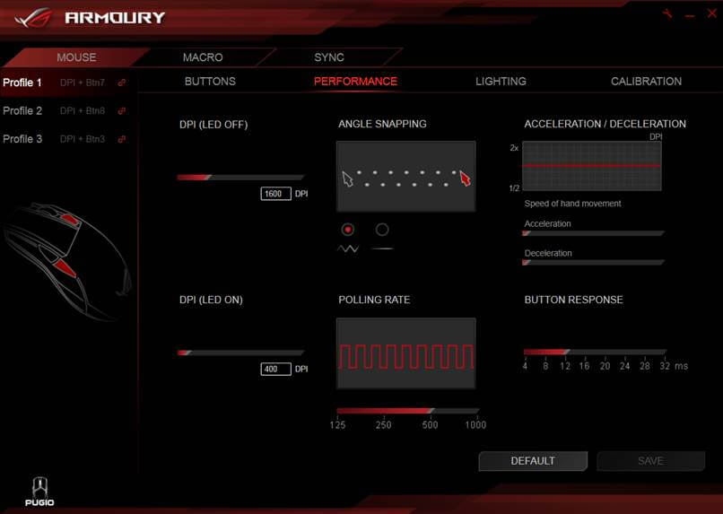 ROG Armoury Software Performance UI