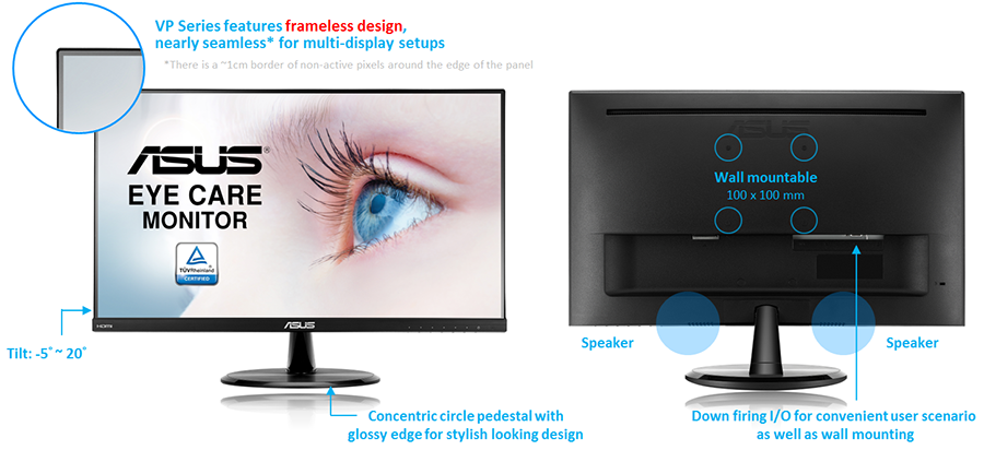 "ASUS VP249H 23 8"" Full HD 1080p IPS HDMI VGA Eye Care"