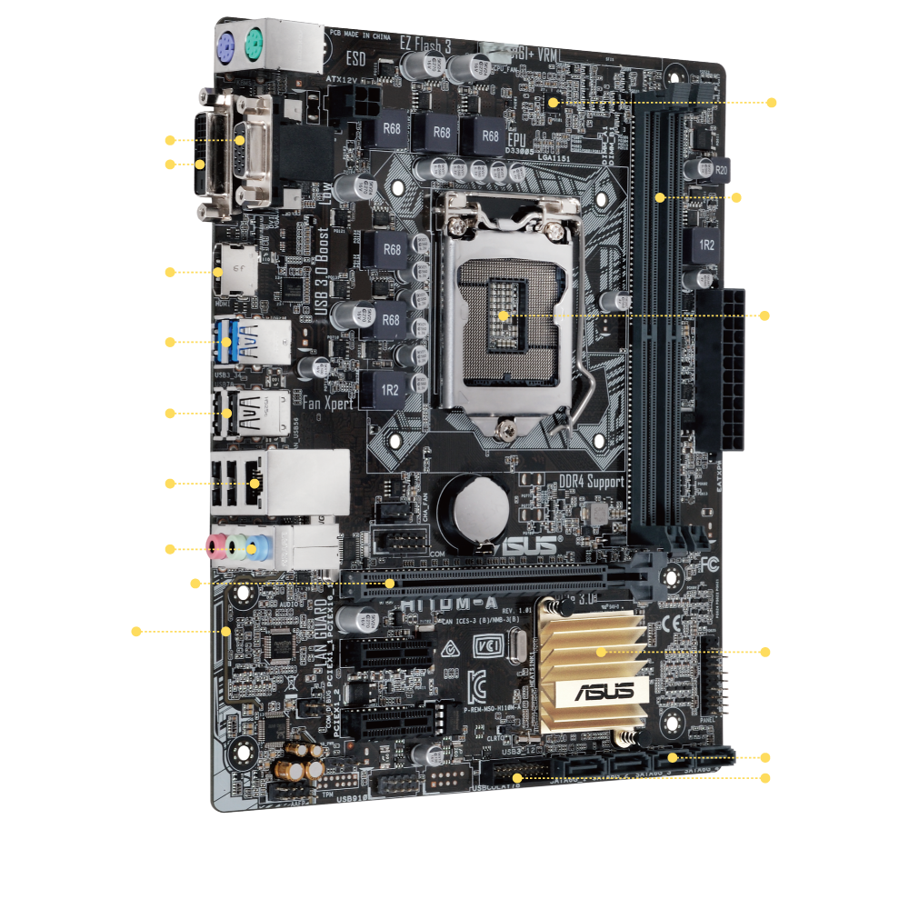 H110m A Motherboards Asus Usa Internal Usb Motherboard Plug Wiring Diagram 1 D Sub Port
