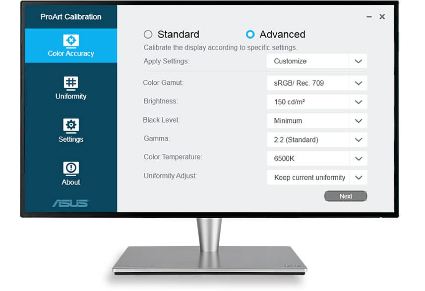 ASUS ProArt Calibration Technology achieves optimum color accuracy when working with different types of content with a variety of advanced setups