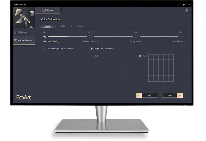 Die ASUS-ProArt-Kalibrierungstechnologie bietet 3x3- und 5x5-Raster zur Homogenitätskompensation, um eine gleichmäßige Helligkeitsverteilung auf dem gesamten Bildschirm zu gewährleisten und Farbabweichungen zu reduzieren.
