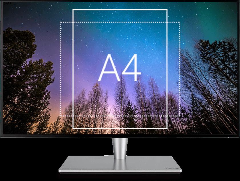 Der ProArt PA27AC bietet ein einblendbares Raster, mit dem Sie Dokumente vor dem Drucken in Originalgrüße an einem Gitternetz ausrichten und in Form einer Vorschau anzeigen können.