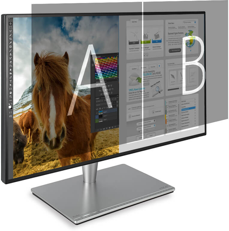 ProArt PA27AC can place multiple input sources side by side onscreen and configure each individual window's color settings.
