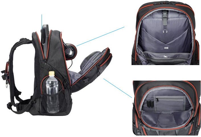 Roomy and well-organized compartments. ROG Nomad overview. 17