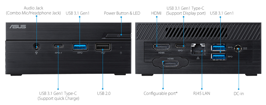 ASUSPRO PN60-Business mini PC- hdmi- USB 3.1- serial port and ASUSPRO PN60-Business mini PC-ODD-Wirelss Antenna