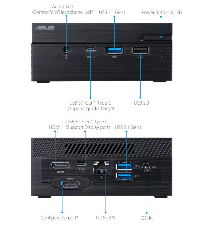 ASUSPRO PN60-Zakelijke mini PC- hdmi- USB 3.1- seriële poort en ASUSPRO PN60-Zakelijke mini PC-ODD-Draadloze antenne