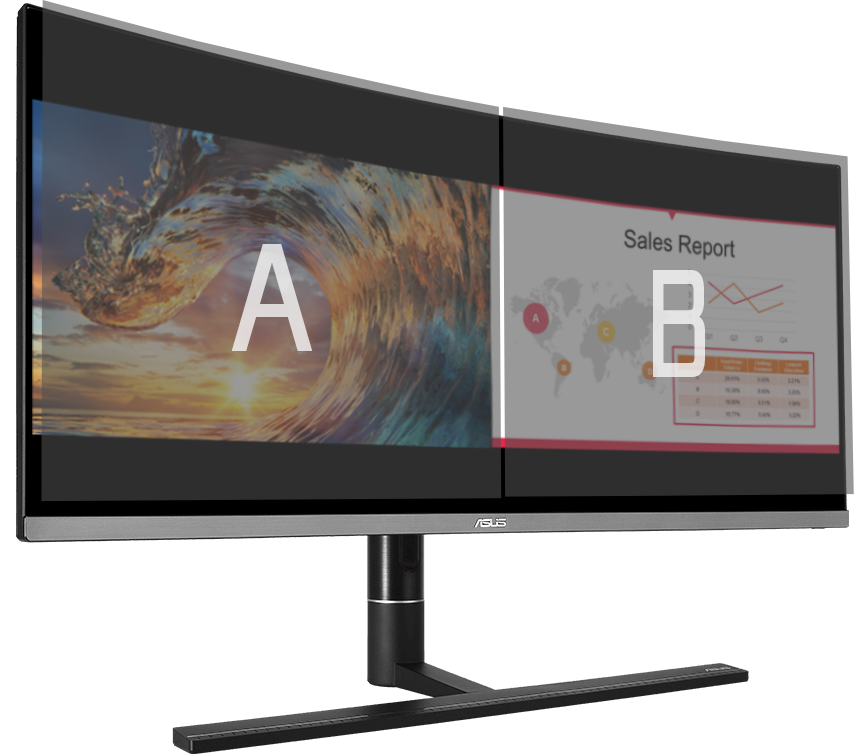 ProArt PA34VC can place multiple input sources side by side onscreen and configure each individual window's color settings.