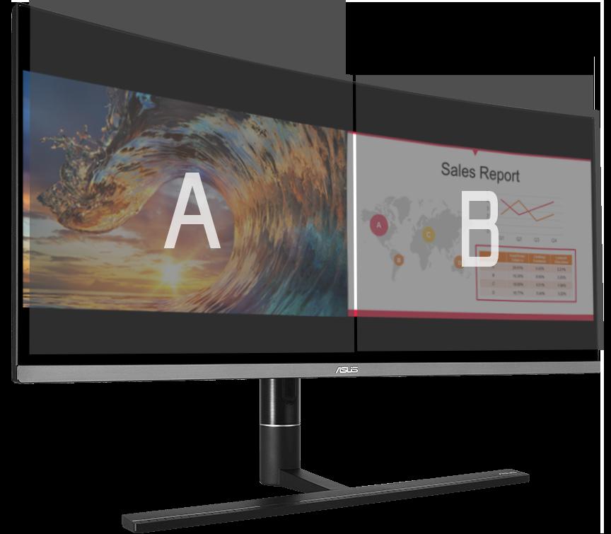 Le ProArt PA34VC permet d'afficher différentes sources d'entrée côté à côté à l'écran et de configurer les paramètres de couleurs de chaque fenêtre.