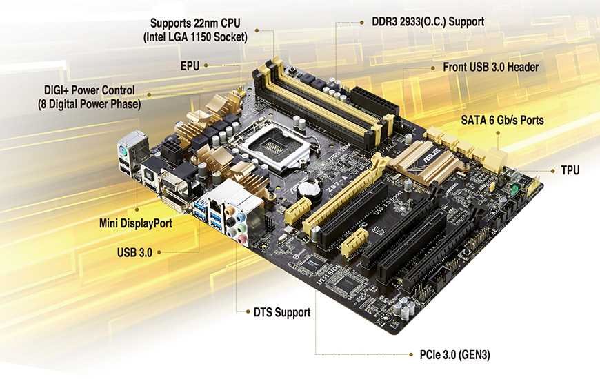 ASUS Z87-A Motherboard Intel Z87 LGA 1150//Socket H3 DDR3  I//O shield