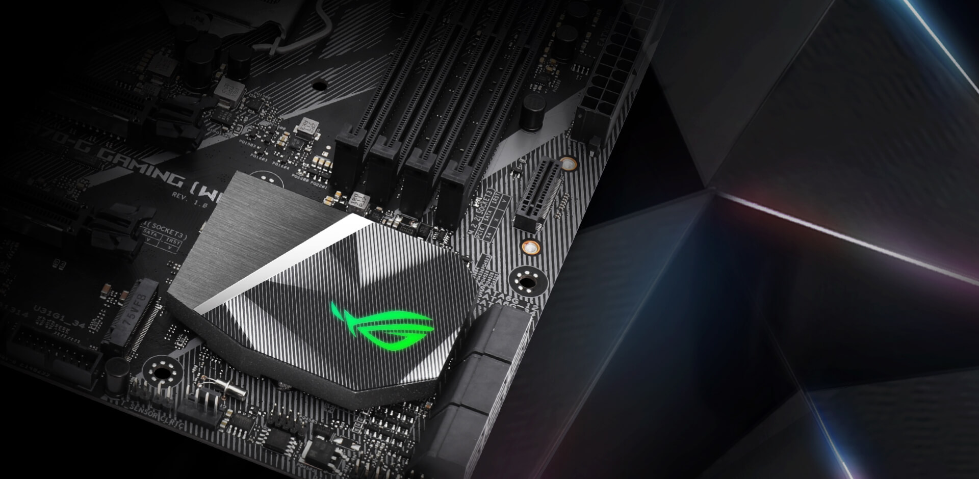 Rog Strix Z370 G Gaming Wi Fi Ac Motherboards Asus Usa 8 Pin Temperature Controller Wiring Diagram Badge Our All Seeing Eye Is Cast In Brushed Metal For Tactile Style That Makes Your Rig Shine
