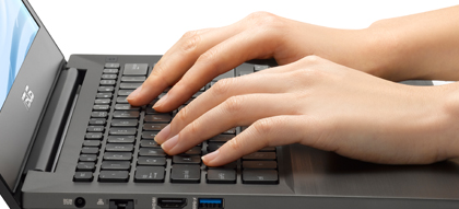 True-comfort keyboard and precision touchpad
