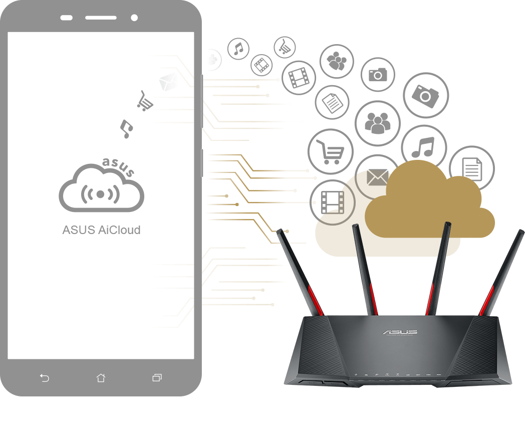 Der ASUS DSL-AC68VG unterstützt AiCloud – ein Online-Speicherdienst mit dem der Nutzer auch von unterwegs über jedes Gerät mit Internetverbindung Dateien einfach und schnell abrufen, synchronisieren, teilen und streamen kann.