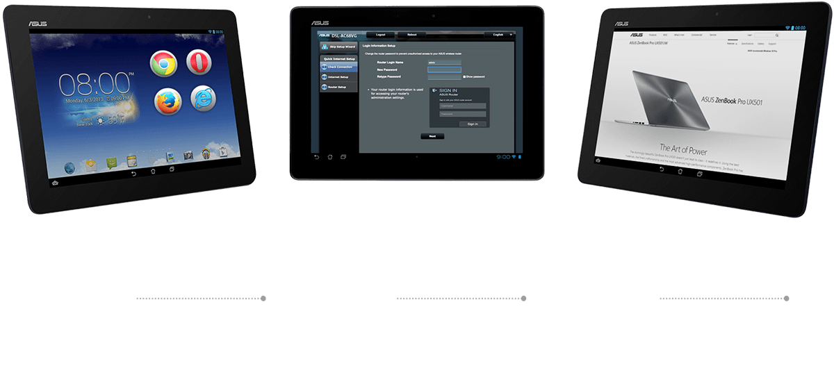 Der ASUS DSL-AC68VG bietet eine einfache Einrichtung in zwei Schritten. Schritt 1: Webbrowser öffnen, Schritt 2: ID/Passwort eingeben – fertig!