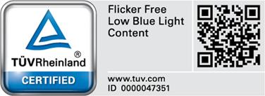 ZenScreen MB16AC通過了嚴格的性能測試,並通過德國萊茵TÜV實驗室認證,無閃爍且發出低水平的藍光。