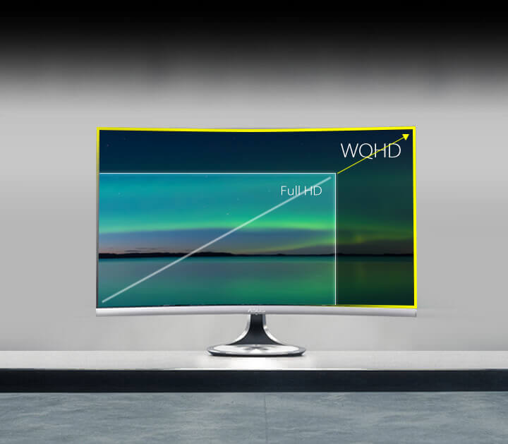 With WQHD (2560 x 1440) resolution, Designo Curve MX32VQ displays 77% more pixels than conventional Full HD monitors.