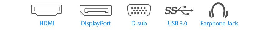 Der BE24EQSB verfügt über zahlreiche Anschlussmöglichkeiten, darunter DisplayPort, DVI-D, D-Sub und zwei USB-3.0-Schnittstellen.